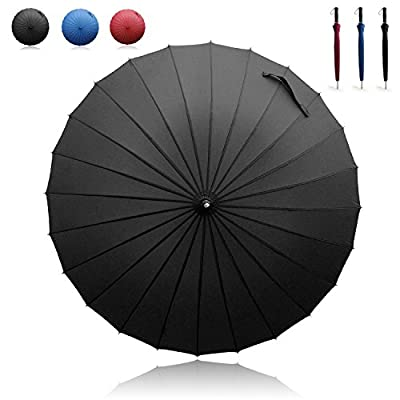 Becko Manual Open & Close Umbrella Long Umbrella with 24 Ribs, Durable and Strong Enough for the Wind and Rain, Easy to Carry on Your Back By Its Own Bag