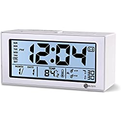 B.F.JOI Battery Digital Alarm Clock for Bedroom with Dual Alarm,Snooze,Date and Backlight, Large Digital Display Alarm Clock for Bedroom Office(White)