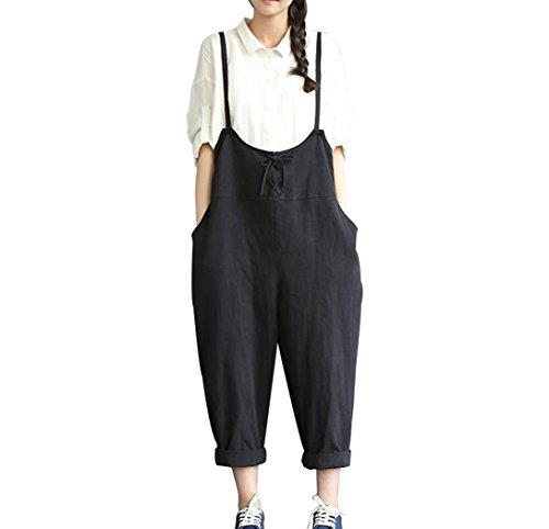 Womens Linen (Caing Women Large Plus Size High Waist Baggy Linen Overalls Casual Wide Leg Pants Sleeveless Rompers Jumpsuit Haren Pants (XXL, Black))