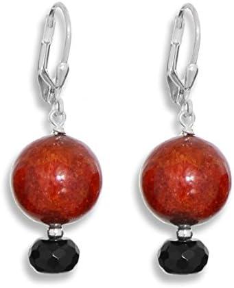 ERCE coral rojo - ónix/onyx piedra semipreciosa pendientes, plata de ley 925