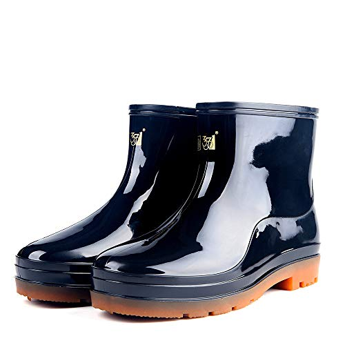 Mens Hunter Original Back Gloss Wellington Winter Rain Boot Fishing Shoes(Black 44/10 D(M) US Men)