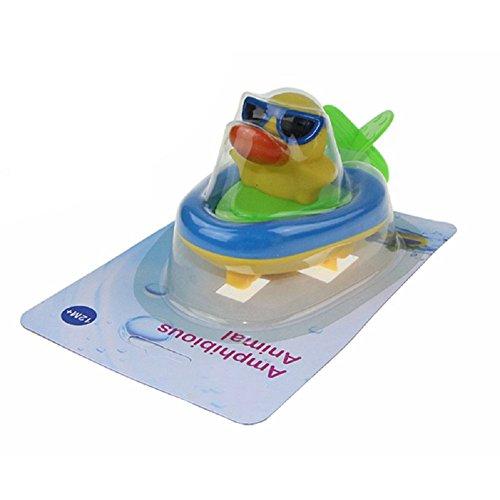 YOSWAN Amphibious Pull and Go Boat Car Playset Bathing Soft Rubber Duck Crocodile Pelican Animal Boat Swimming Bathtime Fun Bath Tub Toys for Boys Girls Toddlers (Duck)