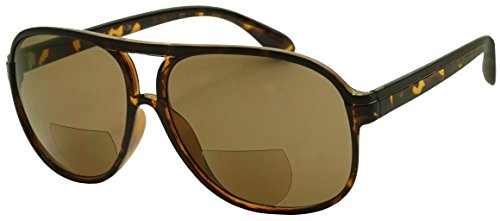 Classic 80s Vintage Oversized Optic Prescription Aviator Reading Eye Glasses Power +100 thru +325 (Tortoise (Bi-Focal Sun Readers), - Cheap And Sunglasses Affordable