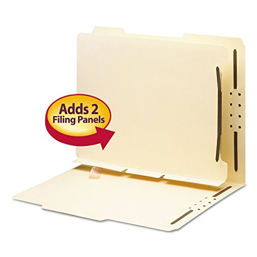 Smead 68025 Manila Self-Adhesive Folder Dividers w/2-Prong Fastener 2-Sect Letter 25/Pack