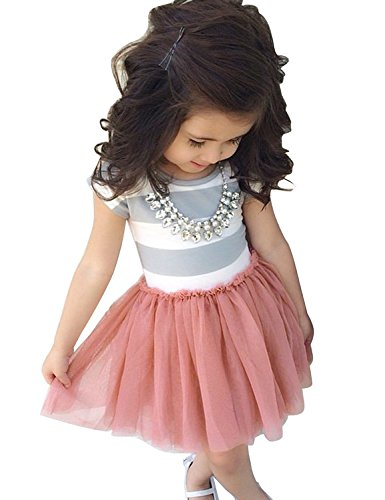 Oklady Toddler Girls Tutu Dress Short Sleeves Stripe Tulle Skirts Mini Dress (3-4T)