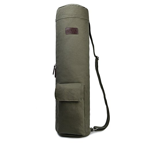 Fremous Yoga Mat Bags and Carriers for Women and Men- Patterned Canvas with  2 Storage Pocket and Zipper - Adjustable Shoulder Strap (Army green) 7e051047335a0