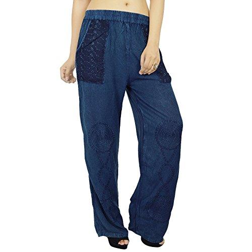 India Mujeres Pantalones Yoga Pantalones de Aladdin rayón Casual Hippie Harem regalo para ella Bleu