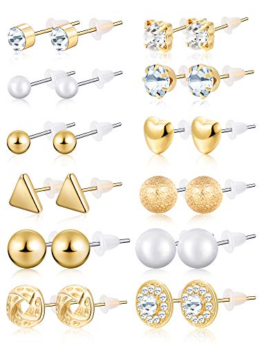- BBTO 24 Pairs Stud Earrings Crystal Pearl Earring Set Ear Stud Jewelry for Girls Women Men, Silver and Gold (Gold)