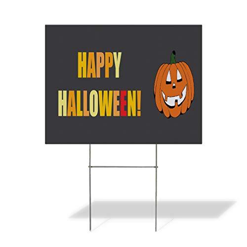 Plastic Weatherproof Yard Sign Happy Halloween! Pumpkins Halloween