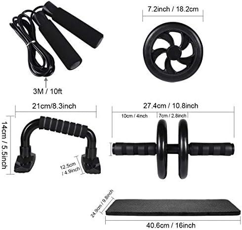 LYCAON Juego de rodillos de rueda Ab 4 en 1 incluye rodillo de rueda Ab, barra de empuje, cuerda de saltar y rodillera, kit de rueda de rodillo para perder peso, fitness, ejercicio músculos abdominales, ejercicio en casa, gimnasio 4