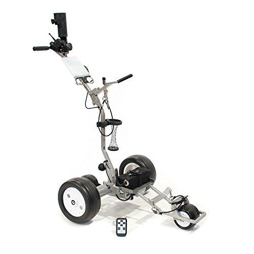 CartTek GRi-1350LIS Silver Electric Remote Control Ion Battery Golf Caddie Cart Tek Golf Carts