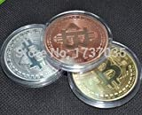 3pcs/lot A set of Bitcoin round coin commemorative coins metal Gold//Silver//copper plated coin