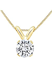 Round Cut White Natural Diamond Solitaire Pendant Necklace In 14k Solid Gold (0.25 Cttw)