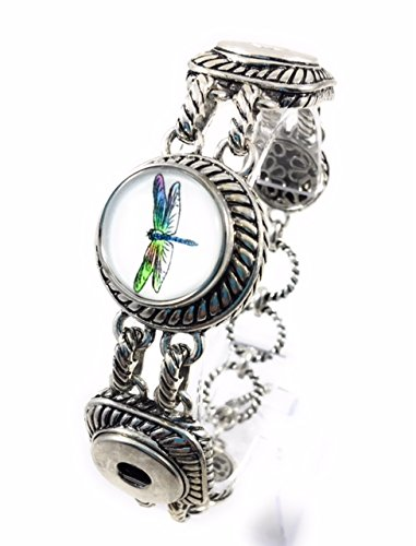 Dragonfly Snap Charm Metal Bracelet 3 Buttons and Accents Fits All Sizes