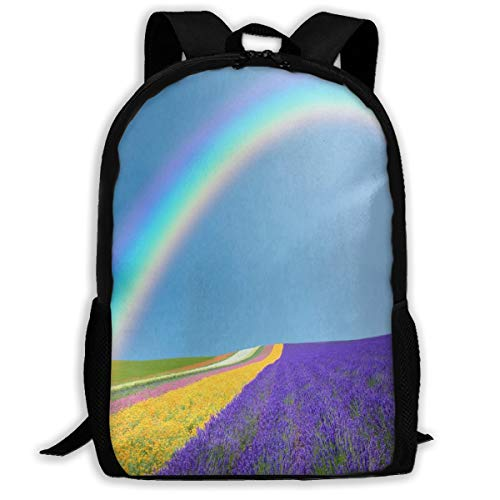 Laptop Backpack Rainbow And Lavender Fields Zipper School Bookbag Daypack Travel Rucksack Gym Bag For Man ()