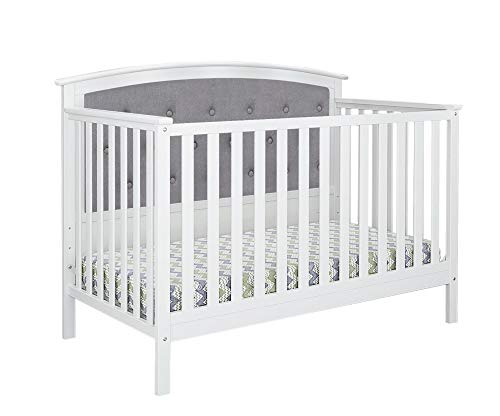 Belle Isle Furniture Bentley Tufted Upholstered Convertible Crib White/Gray Linen