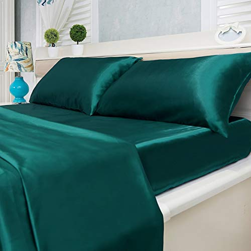 4-Piece Super Soft Silky Satin Bed Sheet Set, Multiple Colors (King, Teal)