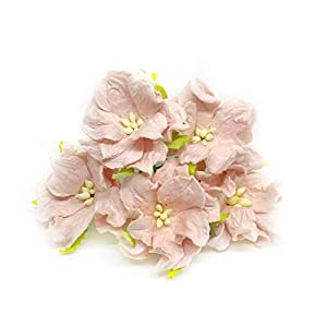 Savvi Jewels 1.5 inch Blush Mulberry Paper Flowers with Wire Stems, Gardenia Flowers, Mini Paper Flowers, Wedding Decoration Craft Scrapbooking Flowers Bouquet 25 Pieces 2