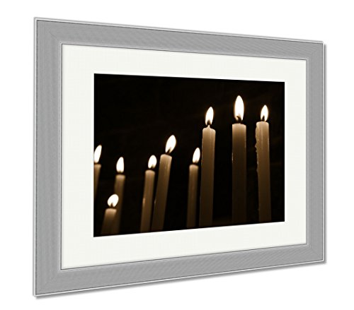 Ashley Framed Prints Candles On Black, Wall Art Home Decoration, Sepia, 26x30 (frame size), Silver Frame, AG6514336 by Ashley Framed Prints