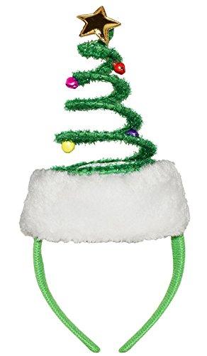 Springy Christmas Tree Headband Bells