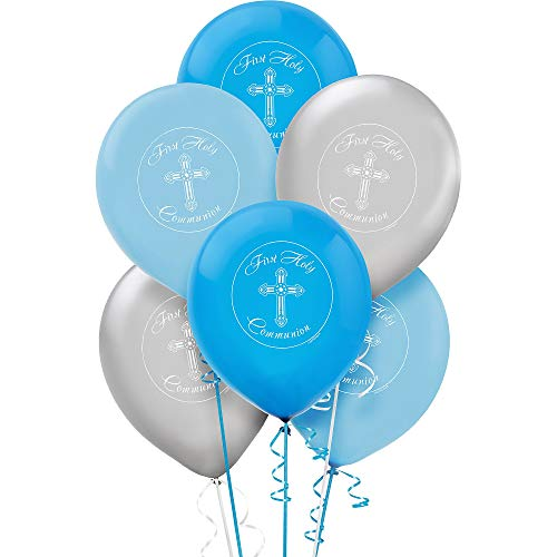 Boy's - Blue and Silver First Holy Communion Latex Balloons - -