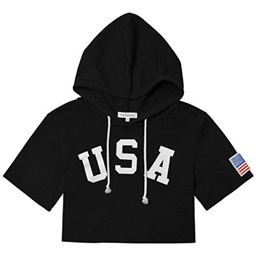 Perfashion America Flag Embroidered Crop Hoodie Drawstring Sweatshirt for Women