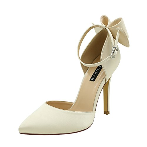 Satin Ankle Bow (ERIJUNOR E1966A Women High Heel Bow Ankle Strap Evening Party Dance Wedding Satin Shoes Champagne Size 5)