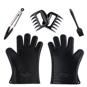 4-in-1Barbecue Tool Set,Heat Resistant Silicone BBQ/Cooking Gloves-Meat Shredder Bear Claws-Silicone Tongs-Basting Brush for Cooking, Grilling, Baking and Barbecue (Black)