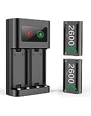 Controller Batteripaket för Xbox One Series X S, Controller Charger Charging Station Dock med 2x2600mAh Uppladdningsbara Batterier Tillbehör för Xbox One/Xbox One S/Xbox One X/Elite/Xbox Series X S