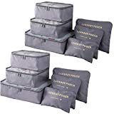 Packing Cubes (2 Sets /12 Pieces) Luggage Organizers/ Laundry Bags  JuneBugz Travel Accessory for Suitcases, Carry-on,Back Packs,Organize Toiletries/Clothing/Medicine/ Shoes/Passport/Docs-Grey