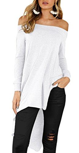 Scollo Shirt Barca Camicie Shirts Blouse Estivi Bluse Manica Orlare Sexy Maglietta Tops Tinta Bianca Irregolare Lunga Tunica a Donna Unita Moda T Maglie pPqw5x1twI