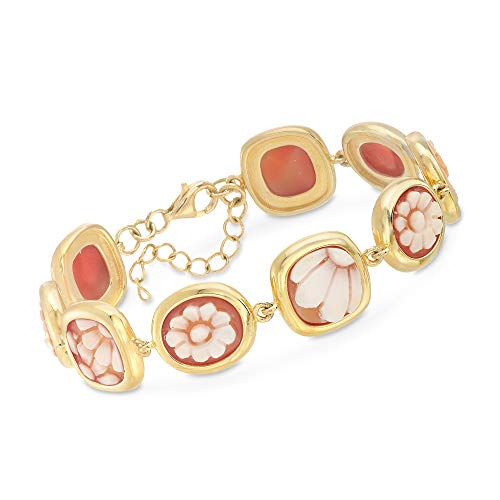 Ross-Simons Italian Floral Cameo Shell Bracelet in 18kt Yellow Gold Over Sterling Silver