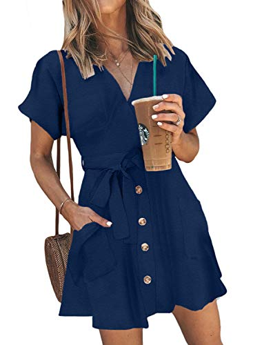 HOTAPEI Women Casual Summer Button Down Sexy Wrap V Neck Tie Belted Short Sleeve Mini Short Tunic Shirt Dress with Pockets Blue S ()