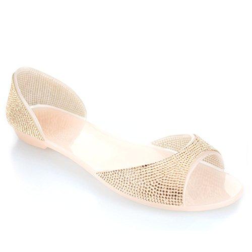 Mesdames Aarz Flat Casual Doux Soirée Diamante Champagne Chaussures Slipper Taille Blanc Femmes Champagne Noir Jelly rqnRFw5r