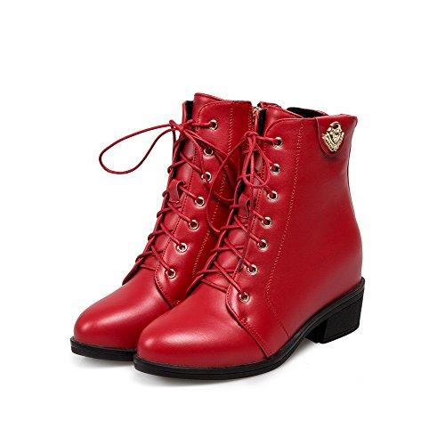 Metallstück VogueZone009 Stiefel Reißverschluss Rund Blockabsatz mit Damen Rot Rein Zehe SwqS8v4Tx
