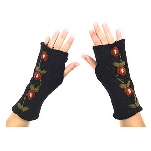 Hand Knit Fingerless Wool Gloves Mittens Warm Fleece Lined Embroidered Flowers (Embroidered Mittens)