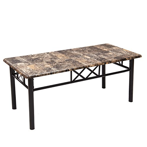 Joveco Coffee Table with Black Metal Frame and Marble Looking Top - Crossed Frame (Cross Contemporary Coffee Table)
