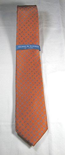 London Silk Necktie (Haines & Bonner of London Hand Made Necktie 100% Silk Turtles- Orange)