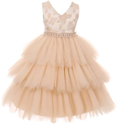 Big Girl Elegant Luxury V Neck Brocade Pageant Party Flower Girl Dress USA Rose 10 KD 412 (Rose Brocade Tea)