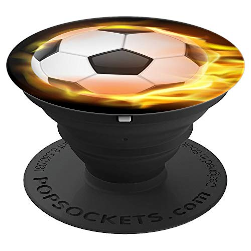 Soccer On Fire Soccer Ball On Fire - PopSockets Grip and Stand for Phones and -