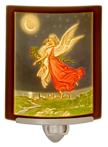 Guardian Angel Colored Porcelain Lithophane Night Light