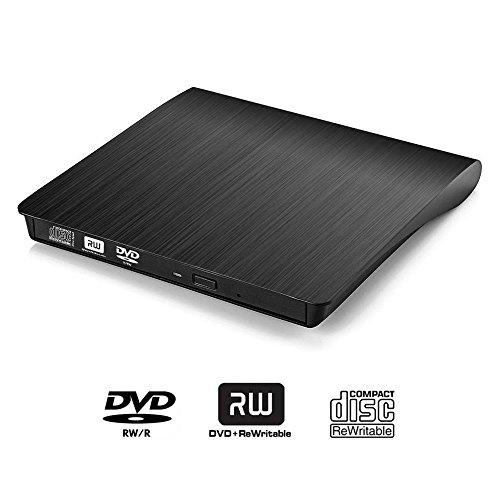 USB 3.0 External DVD Drive,tengertang Slim Portable CD DVD +/-RW Writer/Rewriter/Player DVD CD ROM Drive for Apple Mac Macbook Pro, Windows 10 and 8 Laptop Desktops (black) (Tablet With Cd Dvd Drive)