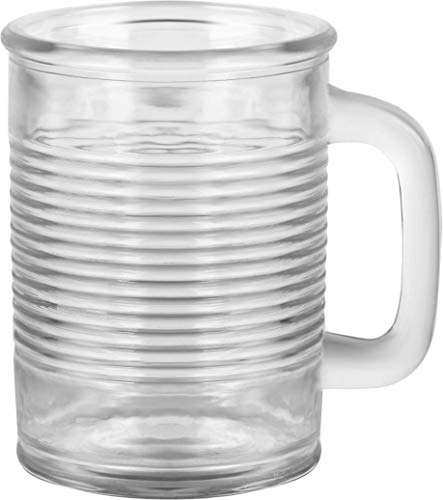 Circleware 04430/AM Huge Set of 12 Mason Jar Mugs in Fun Can Shaped Glasses Home and Kitchen Farmhouse Glassware Décor Drink Tumblers for Water, Beer, Whiskey and Cold Beverages, 17.5 oz, Clear by Circleware (Image #2)
