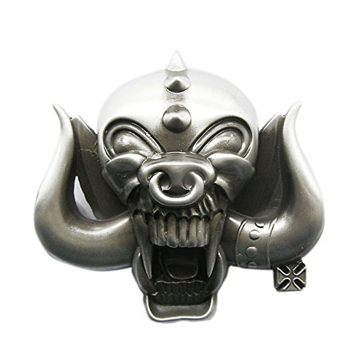 New Vintage 3D Sculpt Long Horn Skull Biker Rider Belt - Biker Skull Buckle Belt