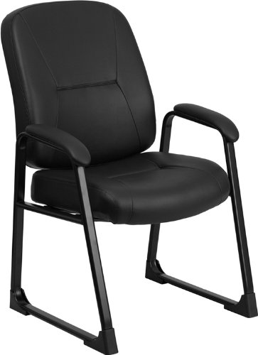 Flash Furniture HERCULES Series Big & Tall 400 lb. Rated Black Leather Executive Side Chair with Sled Base