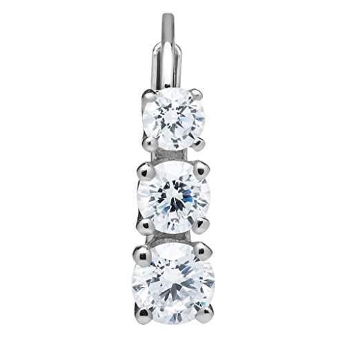 14K Solid White Gold Round Cut Leverback 3-Stone Cubic Zirconia Earrings, Basket Setting (1.90 ctw, Diamond Equivalent), Gift Box