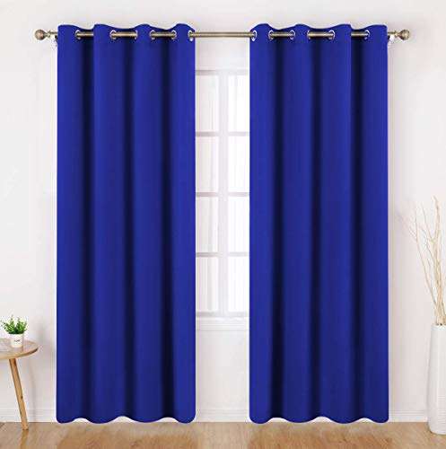 (HOMEIDEAS Blackout Curtains - 2 Panels Royal Blue Room Darkening Curtains/Drapes, Thermal Insulated Solid Grommet Window Curtains for Bedroom & Living Room, 52 x 84 Inches)