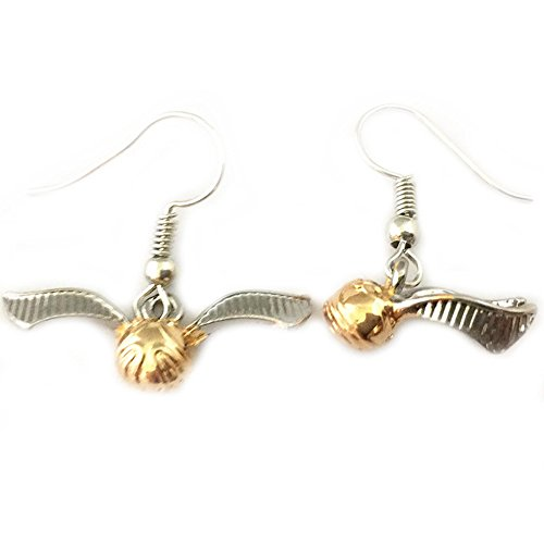 Dangle Earrings Harry Potter Golden Snitch Logo In Gift Box by Superheroes