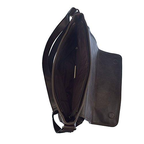U.S.POLO ASSN. Bolsa de hombro grande con bolsillo frontal 36x10x28 cm Marron oscuro