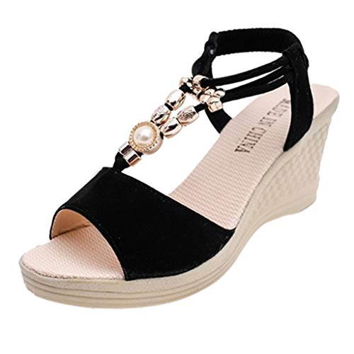 Woman Pearl Chain Wedged Sandals Adjustable Strap High Heel Roman Sandals Retro Open Toe Thick Bottom Platform Beach Shoes (Black, 6 M US)